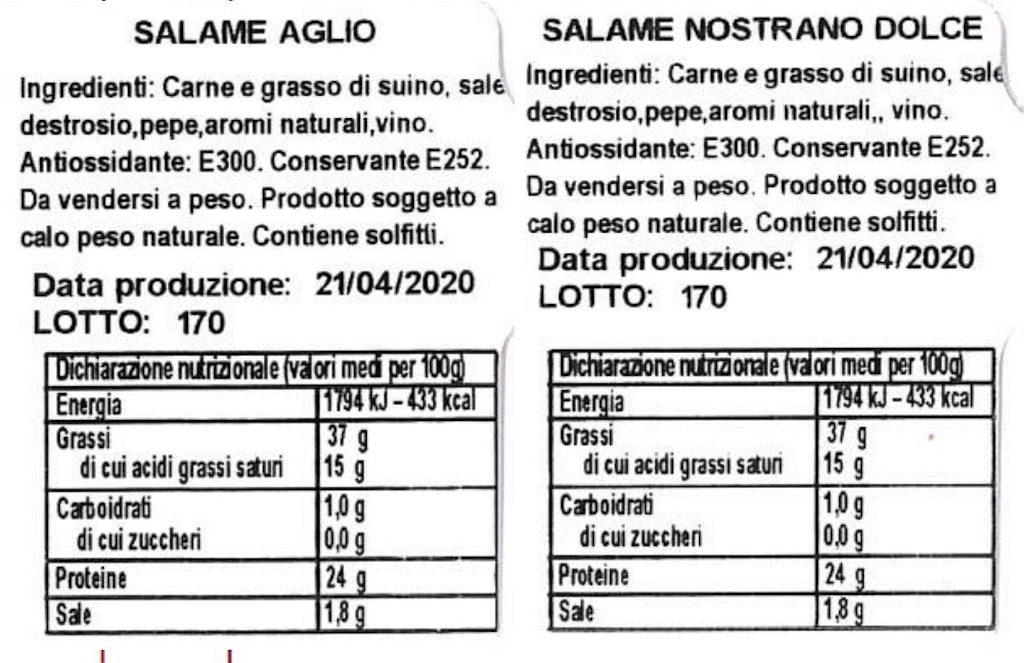 Salame nostrano dolce e con aglio richiamato per rischio salmonella