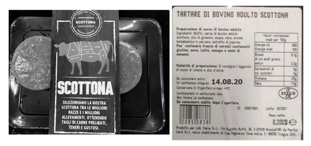 Lidl ritira la tartare di bovino adulto scottona per presenza di salmonella