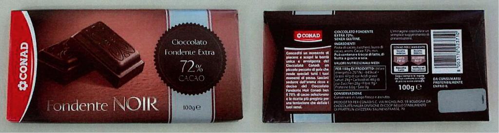 Cioccolato fondente extra 72% cacao Conad richiamato per rischio fisico
