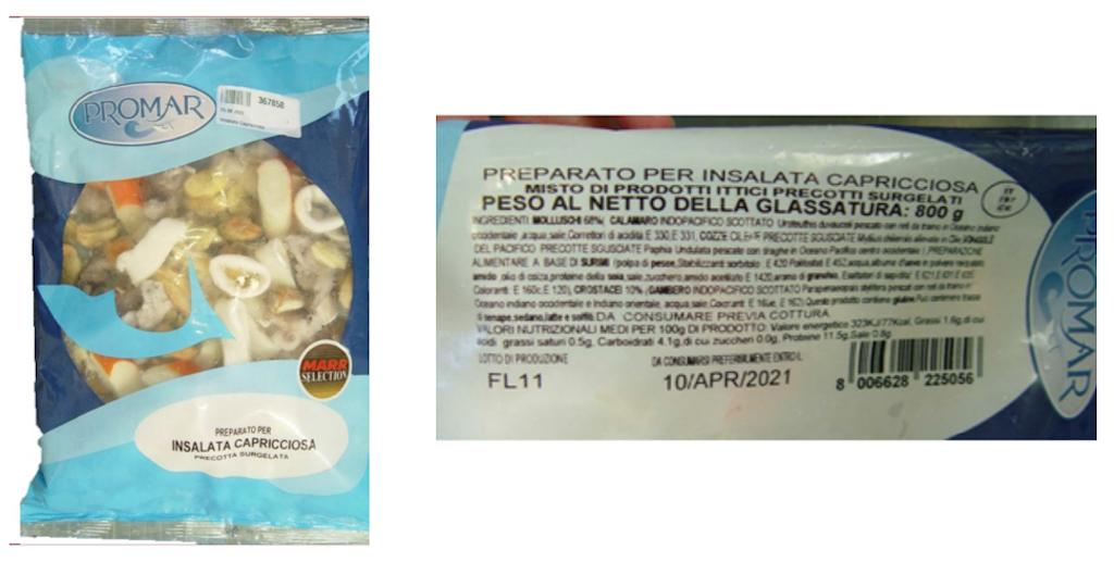 Preparato per insalata capricciosa Promar ritirato per rischio microbiologico