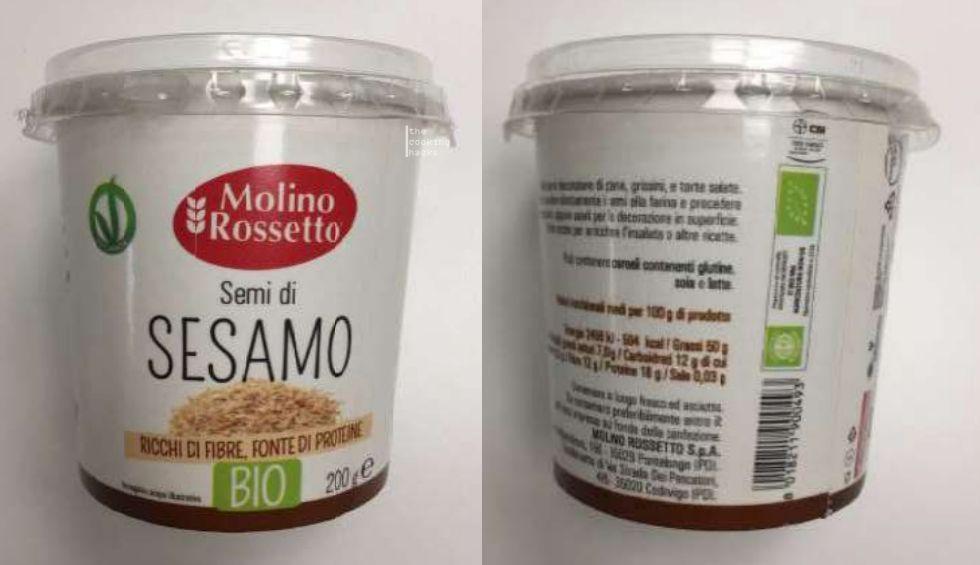 Molino Rossetto ritira le confezioni da 200 g di semi di sesamo bio