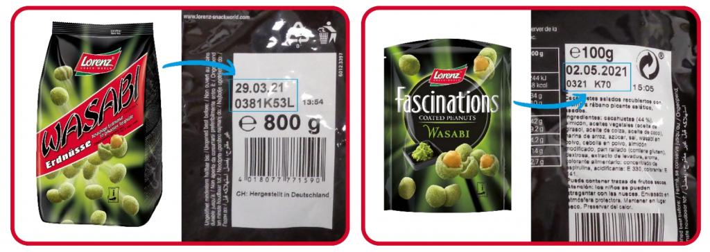 Richiamati gli arachidi al wasabi di Lorenz Snack World per allergene non dichiarato