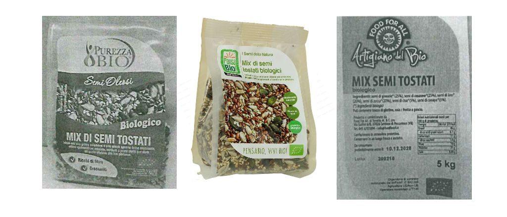 Ritirate le confezioni di Mix di semi tostati biologici a marchio Purezza Bio, Pensa Bio Bio e Artigiano del Bio