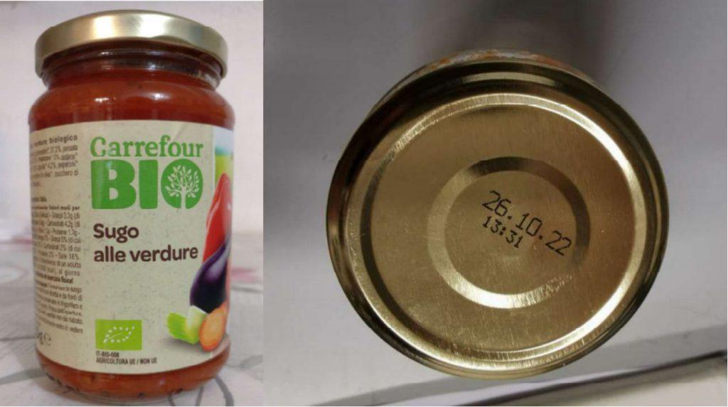 Carrefour richiama il sugo alle verdure biologico per possibile presenza di frammenti di vetro