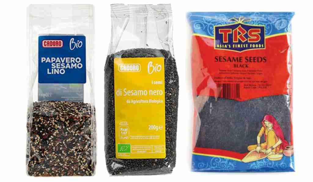 Richiamato sesamo nero e mix di semi con sesamo a marchio Cadoro e TRS
