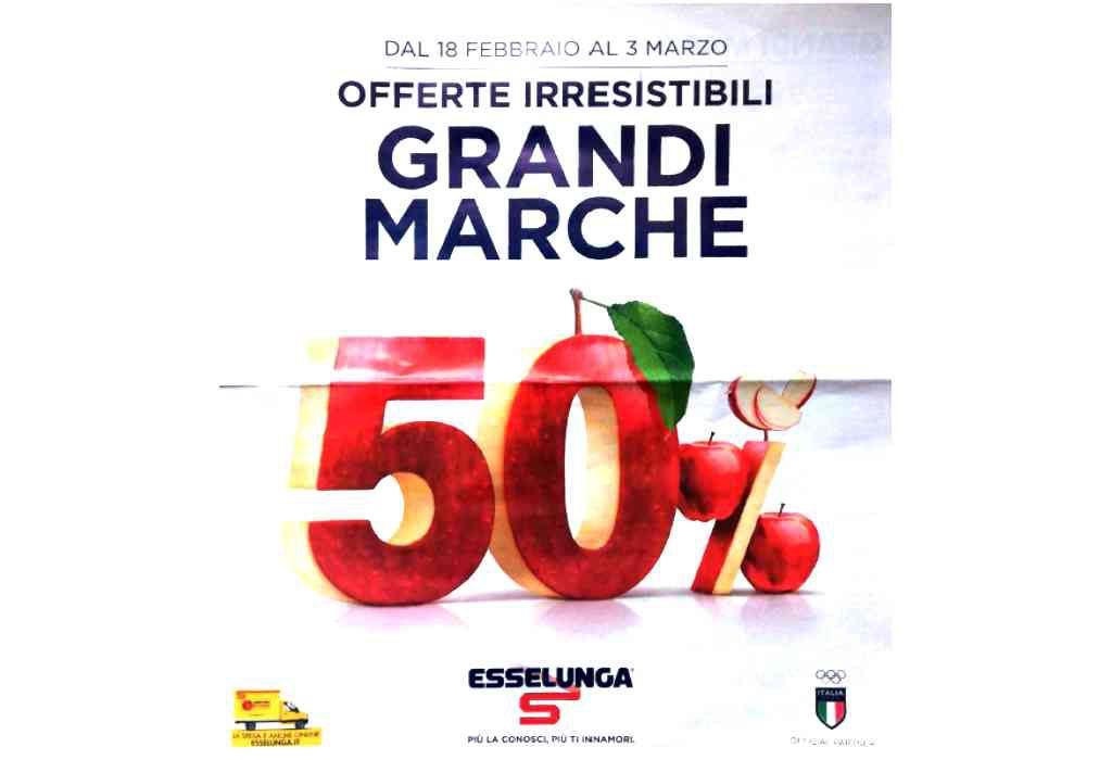 Volantino Esselunga dal 18 febbraio al 3 marzo: Grandi Marche al 50%