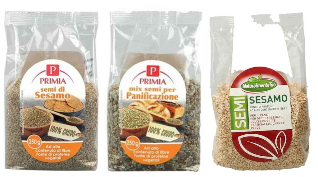 Ritirati i semi di sesamo a marchio Primia e Naturalmente Tuo
