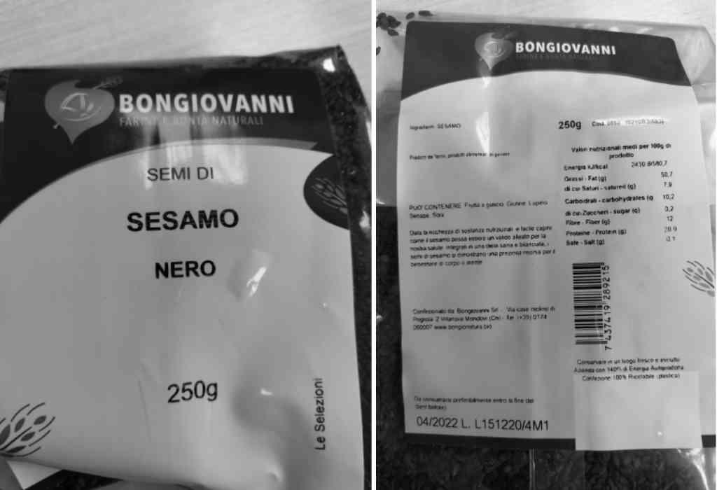 Ritirati semi di sesamo nero contaminato a marchio Bongiovanni SRL