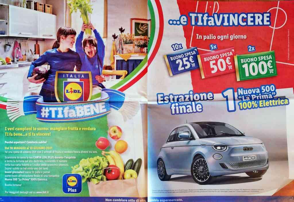 Concorso Lidl TIFa BENE: in palio buoni spesa Lidl e nuova Fiat 500 100% elettrica