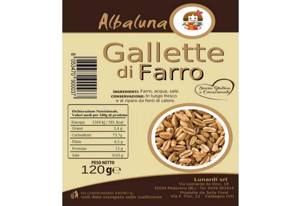 Richiamate gallette di farro Albaluna per errata indicazione di allergene in etichetta