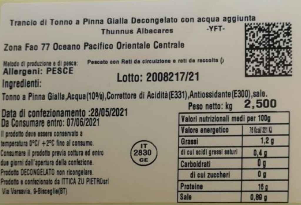 Richiamato il trancio di tonno a pinne gialle di Ittica Zu Pietro per rischio chimico