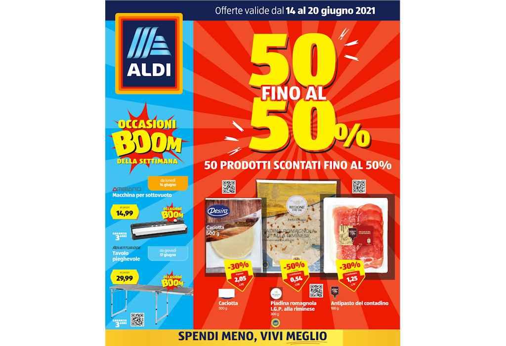 Volantino Aldi dal 14 al 20 giugno 2021: offerte 50 prodotti al 50%