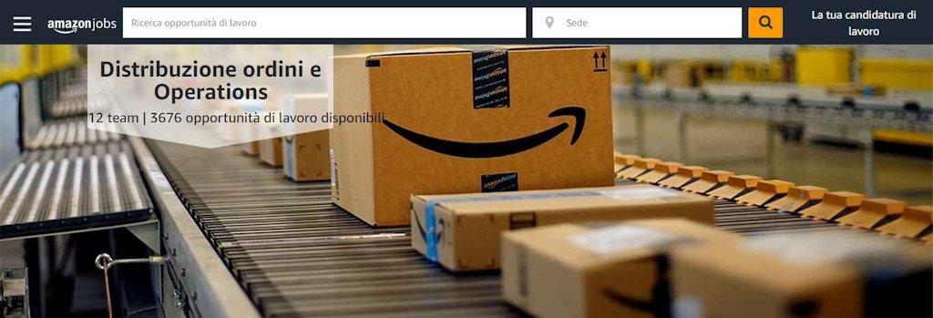 Amazon, assunzioni in Centri di distribuzione ordini
