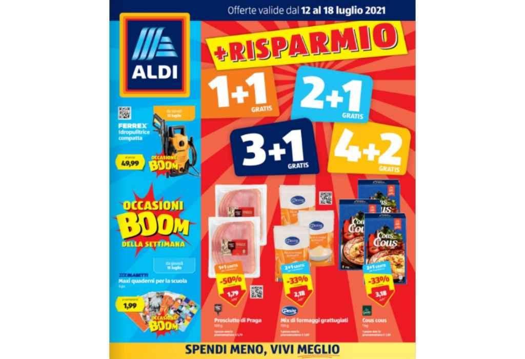 Volantino Aldi dal 12 al 18 luglio 2021: offerte Risparmio 1+1 gratis, 2+1, 3+1 e 4+2