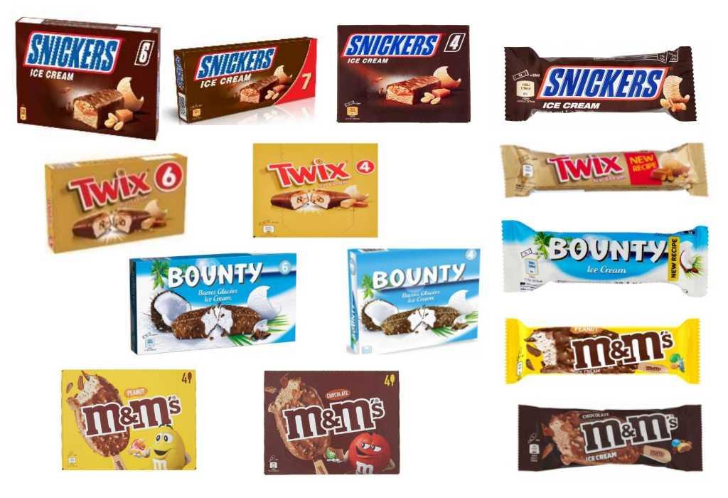 Richiamati gelati Mars Snickers, Twix, Bounty, M&M's per ossido di etilene nella farina di semi di carrube