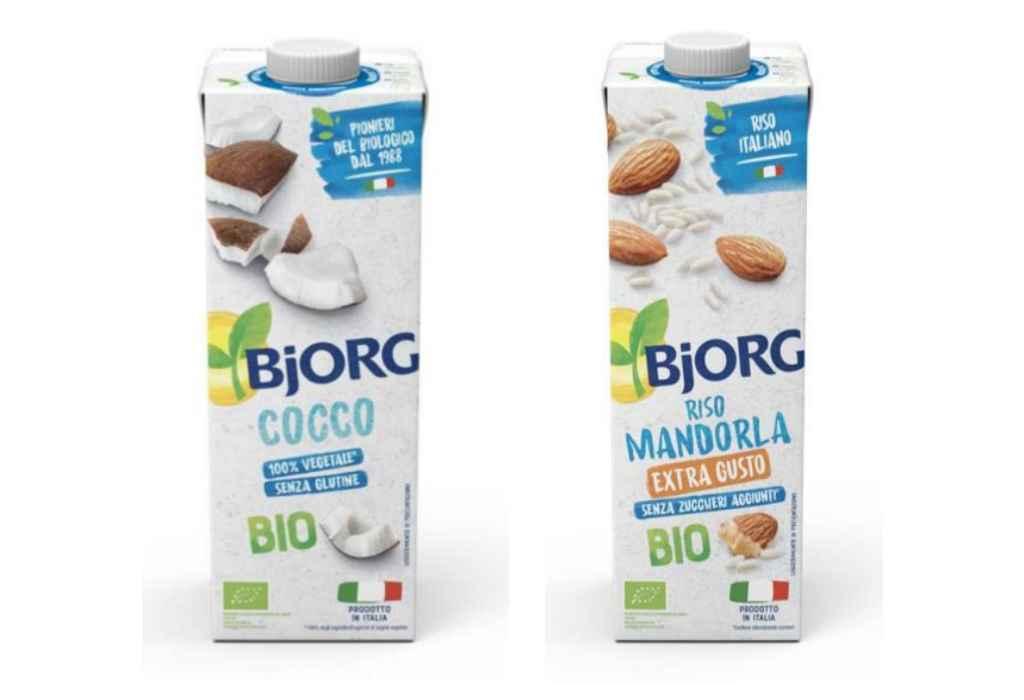 Richiamate bevanda vegetali Bjorg  Cocco e Riso e Mandorla