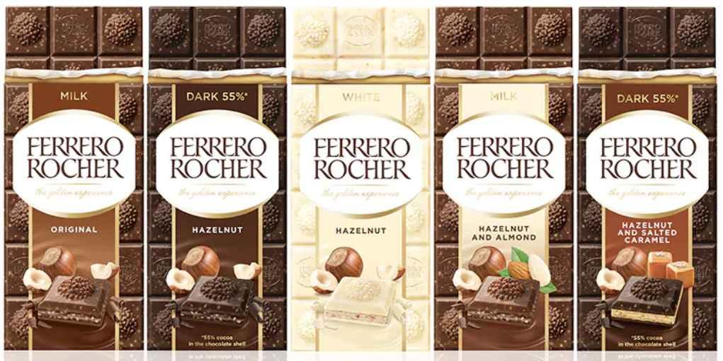 I gusti delle tavolette di cioccolato di Ferrero Rocher