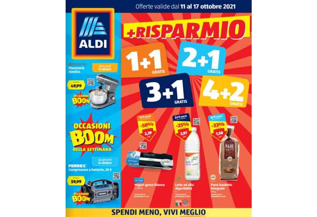 Volantino Aldi dal 11 al 17 ottobre 2021: Risparmio 1+1 gratis, 2+1 gratis, 3+1 gratis, 4+2 gratis